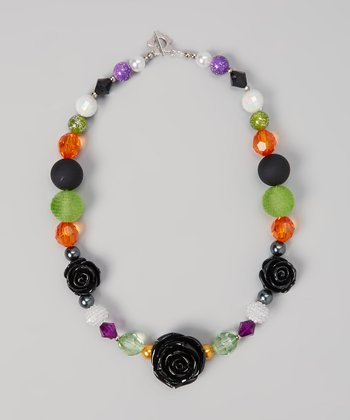 Black & Purple Rose Necklace