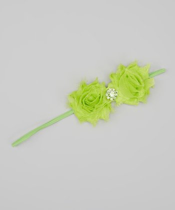 Lime Green Rhinestone Shabby Flower Headband