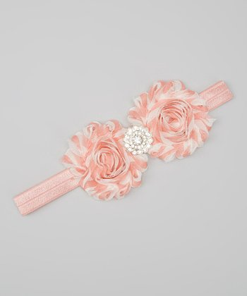 Dusty Rose & White Rhinestone Shabby Flower Headband