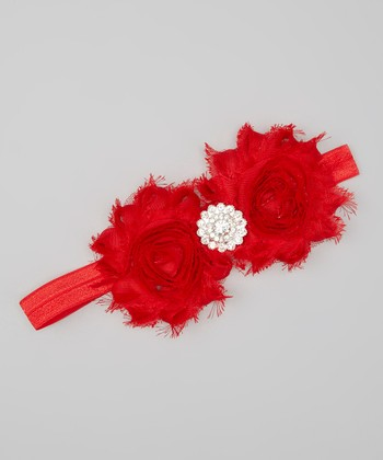Red Rhinestone Shabby Flower Headband