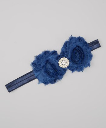 Midnight Blue Rhinestone Shabby Flower Headband