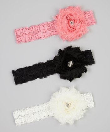 Black, Ivory & Pink Rhinestone Flower Lace Headband Set