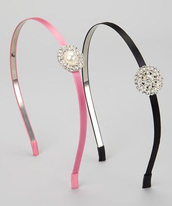 Black & Pink Rhinestone Headband Set