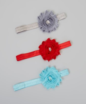 Red, Blue & Gray Frilly Flower Headband Set