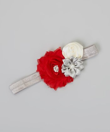 Red & Silver Flower Holiday Headband