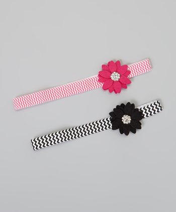 Black & Hot Pink Zigzag Flower Felt Headband Set