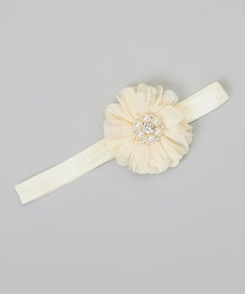 Ivory Pearl Flower Headband