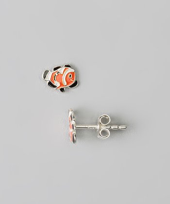 Sterling Silver Orange Clownfish Stud Earrings