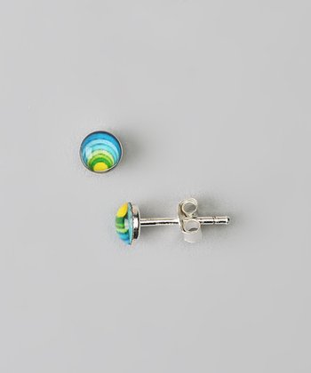 Sterling Silver Green & Blue Rainbow Stud Earrings