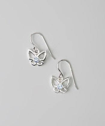 Sterling Silver & Light Blue Crystal Butterfly Earrings