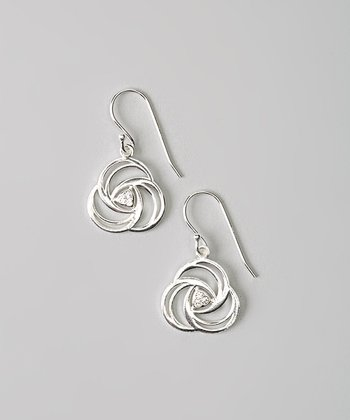 Sterling Silver Crystal Rose Earrings