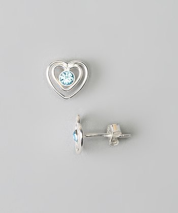 Sterling Silver & Blue Crystal Heart Stud Earrings