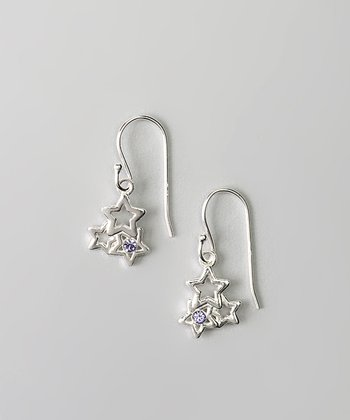Sterling Silver & Purple Crystal Star Earrings