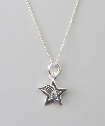 Sterling Silver & Blue Crystal Shooting Star Pendant Necklace