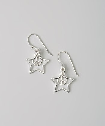 Sterling Silver Peace Star Earrings