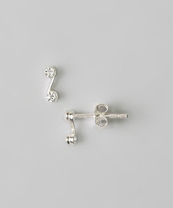 Sterling Silver & Crystal Curve Stud Earrings
