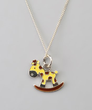 Sterling Silver Yellow & Brown Giraffe Pendant Necklace
