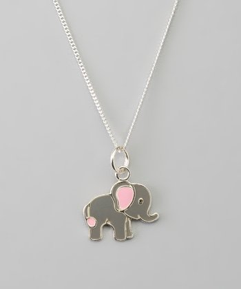 Sterling Silver Gray & Pink Elephant Pendant Necklace