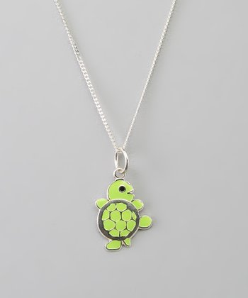 Sterling Silver & Green Turtle Pendant Necklace