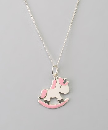 Sterling Silver White & Pink Unicorn Pendant Necklace