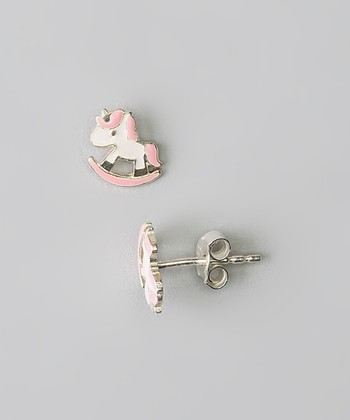 Sterling Silver White & Pink Unicorn Stud Earrings