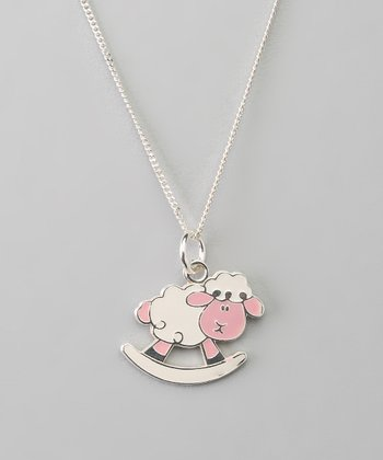 Sterling Silver White & Pink Sheep Pendant Necklace