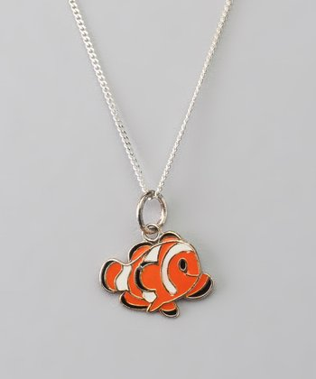 Sterling Silver Orange & Black Clownfish Pendant Necklace