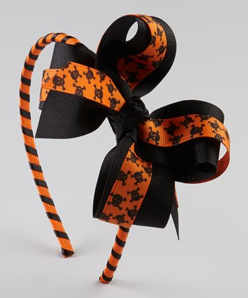 Orange Skull Bow Headband