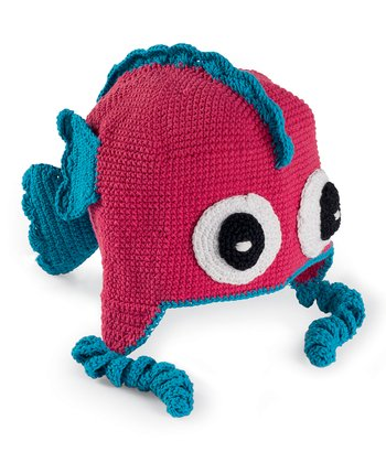 Hot Pink Fish Crocheted Earflap Beanie