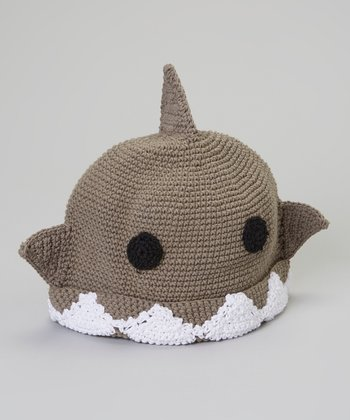 Olive Shark Crocheted Hat