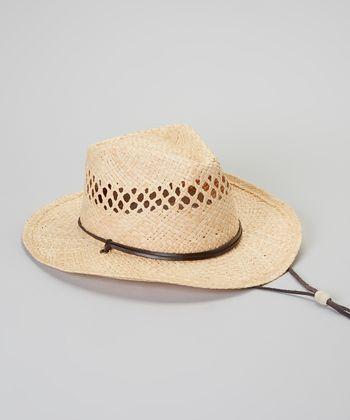 Natural Eyelet Chin Strap Raffia Cowboy Hat