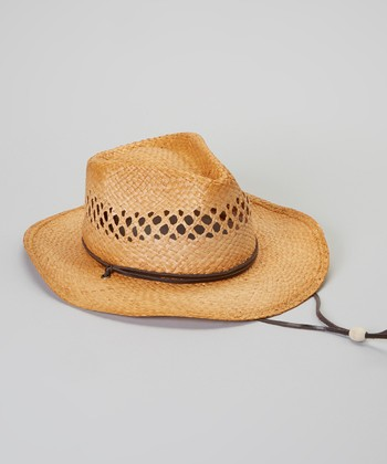 Tea-Stained Eyelet Chin Strap Raffia Cowboy Hat