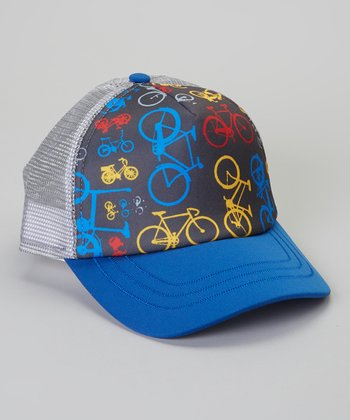 Blue Bike Trucker Hat