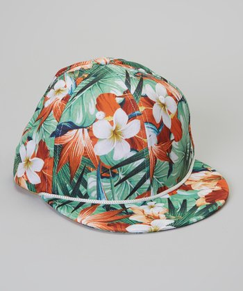 Green Tropical Flower Baseball Cap
