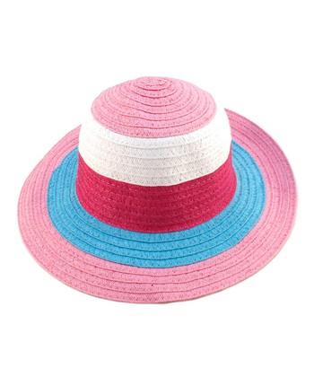 Pink Color Block Woven Sunhat