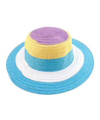 Turquoise Color Block Woven Sunhat