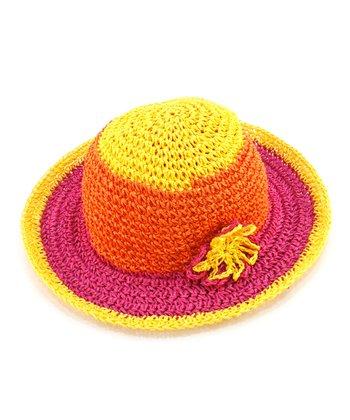 Yellow Flower Woven Sunhat