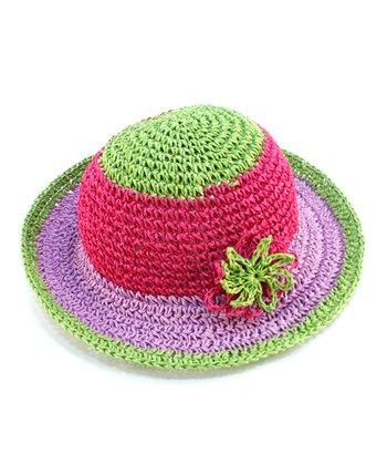 Green Flower Woven Sunhat