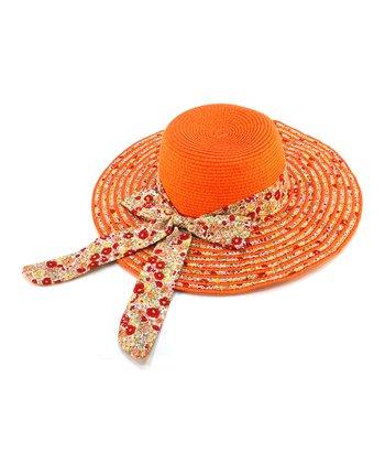 Orange Floral Bow Woven Sunhat