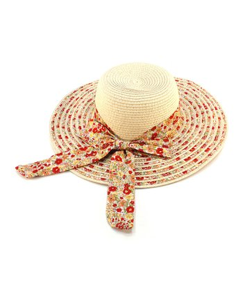 Beige Floral Bow Woven Sunhat