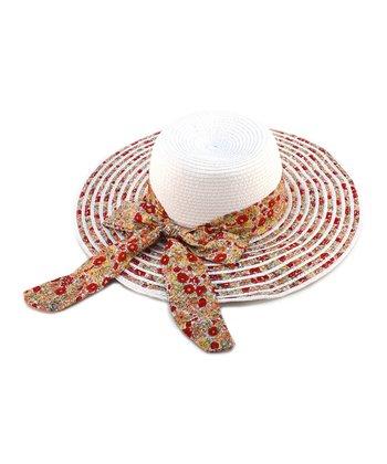 White Floral Bow Woven Sunhat