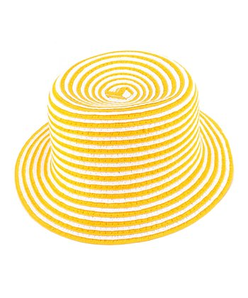 Yellow Stripe Woven Hat