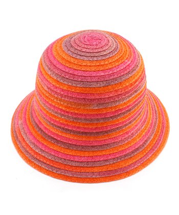 Orange Stripe Woven Hat