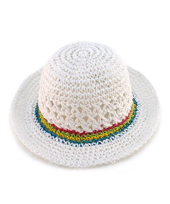 White Contrast-Band Eyelet Woven Hat