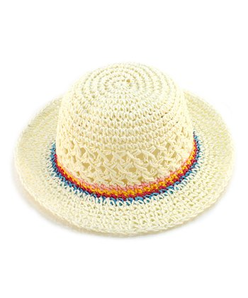 Beige Contrast-Band Eyelet Woven Hat
