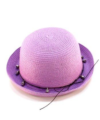 Purple Bead Woven Hat