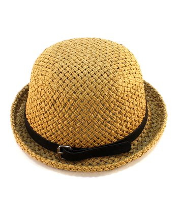 Brown Buckle-Band Woven Hat