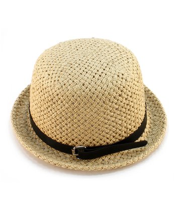 Tan Buckle-Band Woven Hat