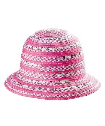 Pink Gingham & Floral Crocheted Sunhat