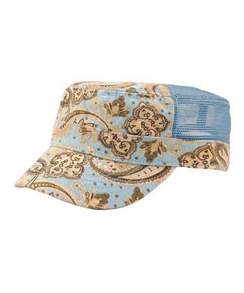 Light Blue Paisley Army Cap